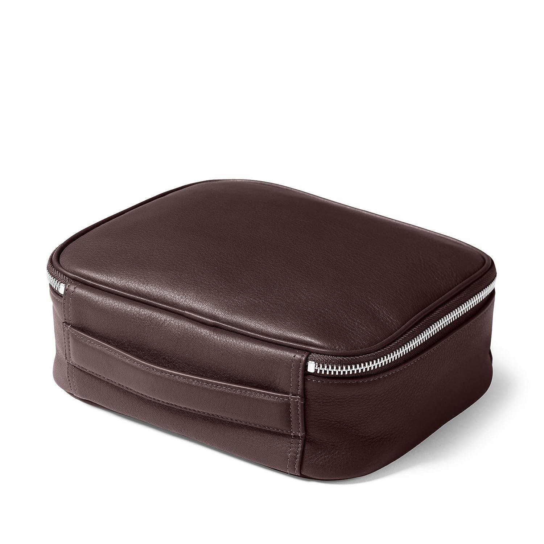 Full Grain German Leather Leather Leatherology Large Tech Bag Organizer Brown Mahogany