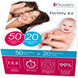 Ovulation Test Strips and Pregnancy Test Kit - 50 LH and 20 HCG - OPK Ovulation Predictor Kit iProven FK-127W (50 LH & 20 HCG)
