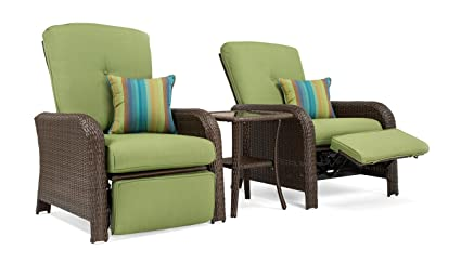 La Z Boy Outdoor Sawyer 3 Piece Patio Furniture Recliner Bundle 2 Outdoor Recliners And 1 Side Table Cilantro Green