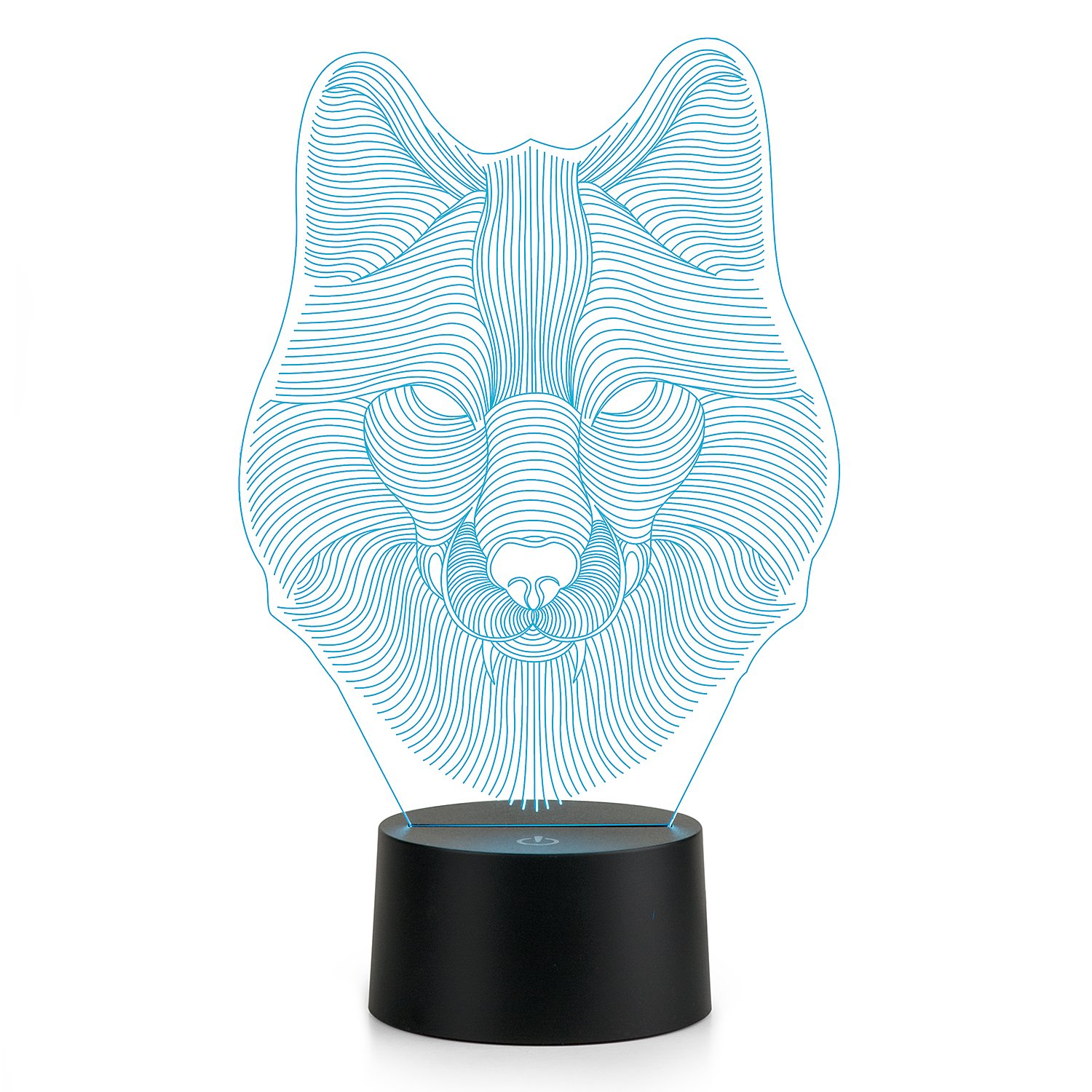 3D Lamp Wolf Head Lamp LED Night Light Animal Table Lamp Optical Touch Transform 7 Color Lights Birthday Gift Lights Business Gift Lights
