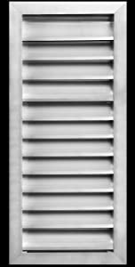 """12""""w X 26""""h Aluminum Outdoor Weather Proof Louver - Rain & Waterproof Air Vent with Screen Mesh - HVAC Grille - Aluminum [Outer Dimensions 13.75""""w x 27.75""""h]"""