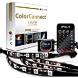 4pc Multi-Color RGB LED Strip Kit, 5-inch Pre-Cut Accent Light Strips for TV Home Theater Backlight and Kitchen Under Cabinet Lighting, Waterproof Silicone, 3M Tape, Power Adaptor