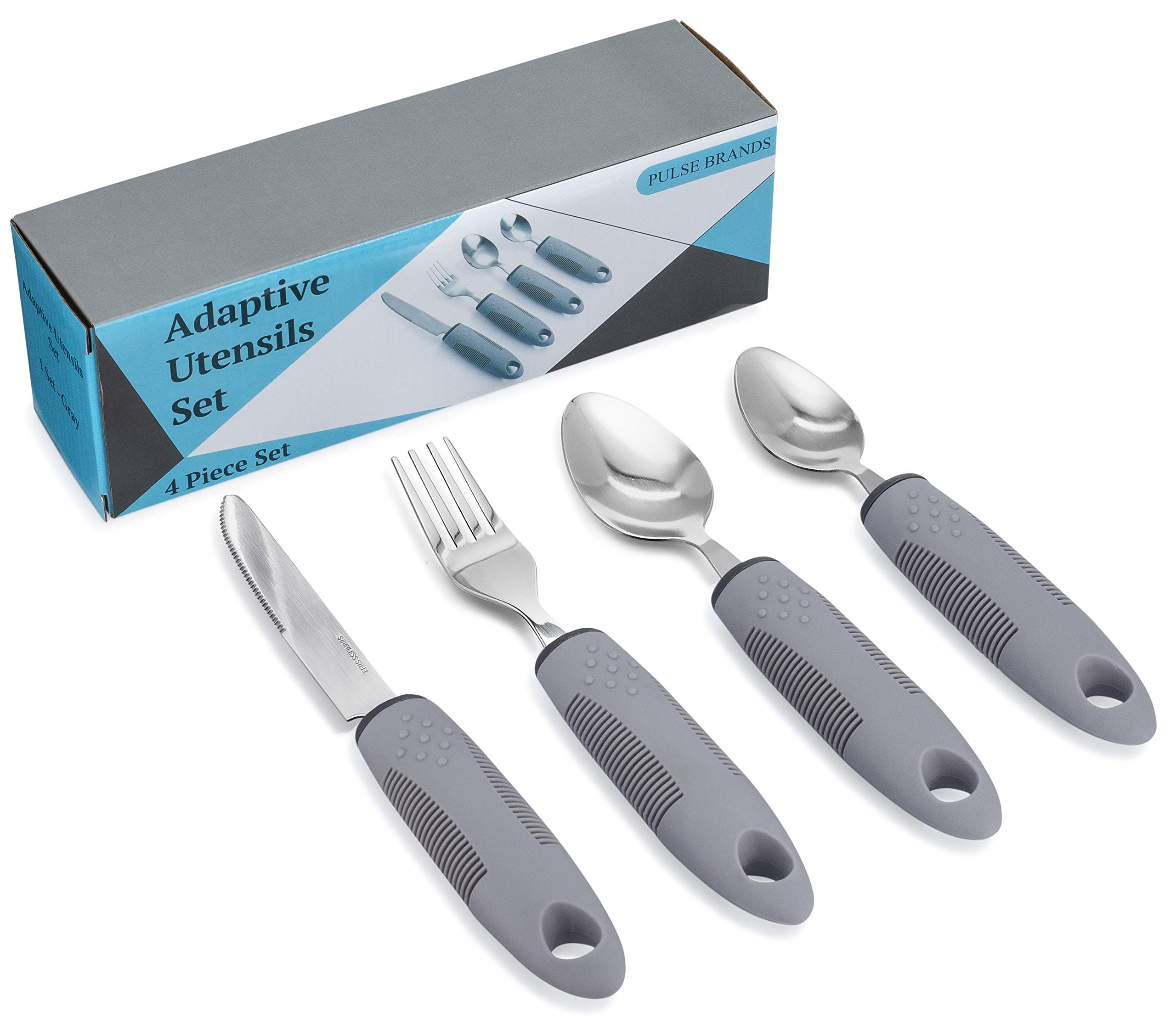 Adaptive Utensils (4-Piece Kitchen Set) Non-Weighted, Non Slip Wide Handles for Hand Tremors, Arthritis, Parkinson's Disease or Elderly use | Cutlery Silverware - Knife, Fork, Spoons (Gray - 1 Set) by Pulse Brands