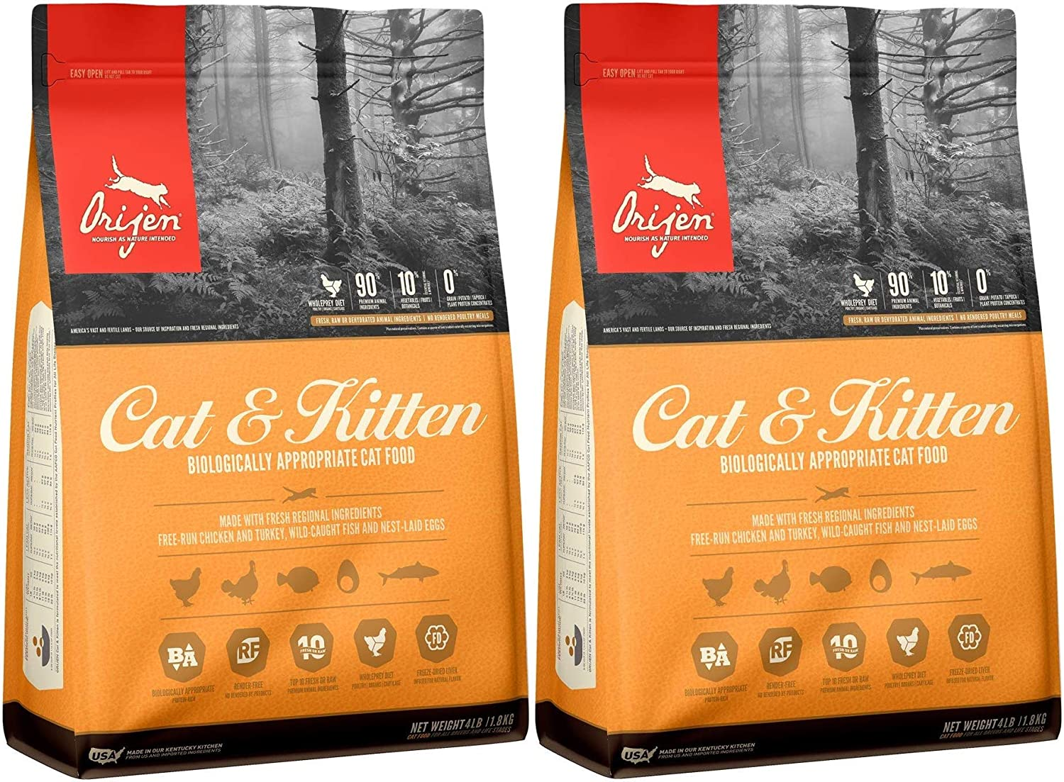 Orijen 2 Pack of Cat & Kitten Grain-Free Dry Food, 4 Pounds Each, Made in The USA