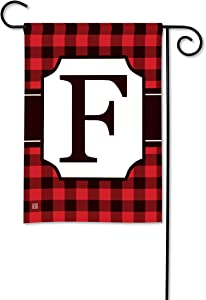 BreezeArt Studio M Buffalo Check Monogram F Garden Flag - Premium Quality, 12.5 x 18 Inches