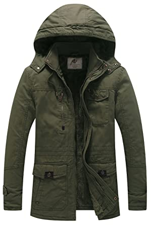 9c6dd5c15277a WenVen Men's Winter Thicken Cotton Parka Jacket with Removable Hood (Army  Green, Small)
