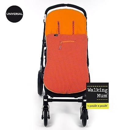 WALKING MUM - Funda Verano Silla Paseo Universal Walking Mum con Saco Happy Fluor naranja