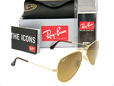 authentic ray bans  Amazon.com: Authentic Ray-Ban Aviator Gold / Polarized Brown ...
