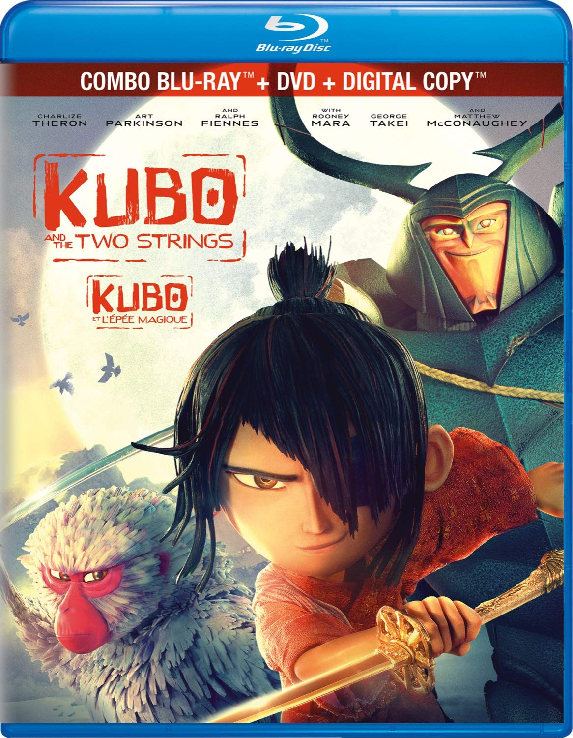 Amazon Com Kubo And The Two Strings Blu Ray Dvd Art Parkinson Charlize Theron Ralph Fiennes Brenda Vaccaro Cary Hiroyuki Tagawa Travis Knight Movies Tv