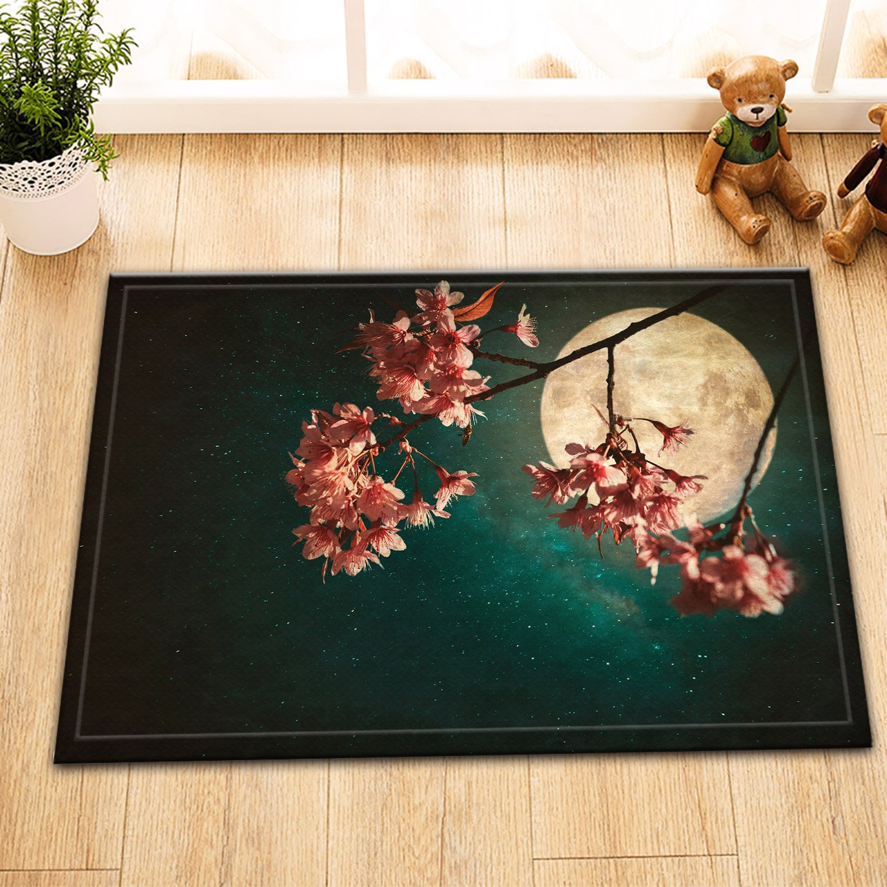 Flowers Bath Mat Antique and vintage style photo - Beautiful pink cherry blossom sakura flowers in night of skies with full moon and milky way stars Washable Door Mat Bathroom Decor Home Accessory 60x40cm JinShiZhuan
