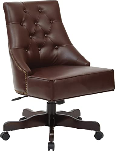INSPIRED by Bassett Rebecca Bonded Leather Seat and Tufted Back Office Chair with Nailhead Accents, Espresso