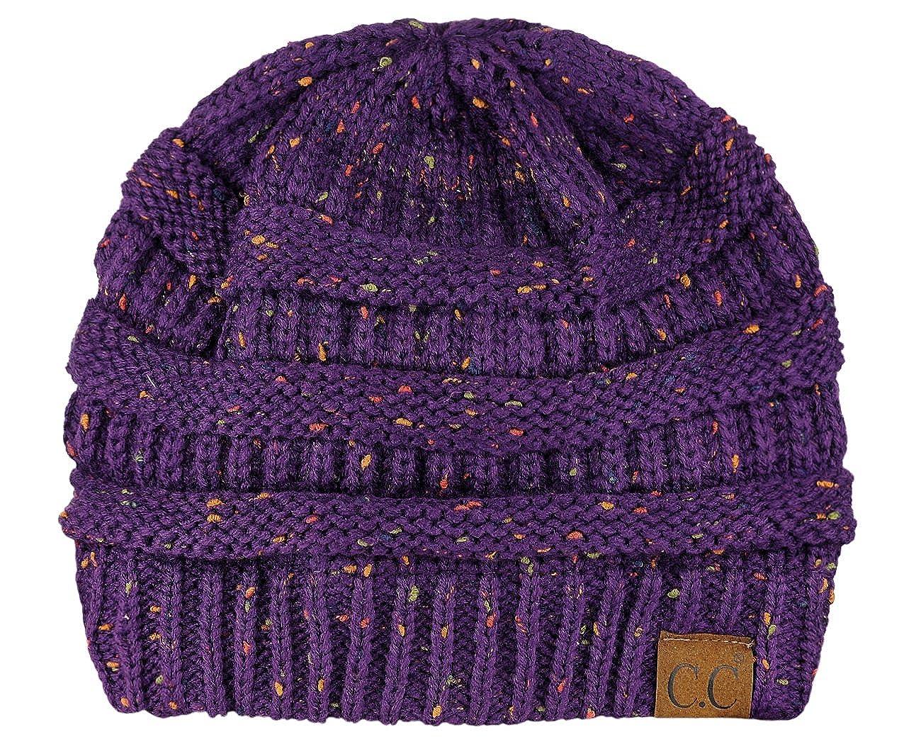 bf8e22283df Amazon.com  C.C Unisex Colorful Confetti Soft Stretch Cable Knit Beanie  Skull Cap - Dark Purple  Clothing