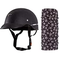 Habsolite All Purpose Safety Helmet with Strap (Black, Free Size) and Autofy Pirate Skull Print Lycra Headwrap Bandana for Bikes (Black and White, Free Size) Bundle