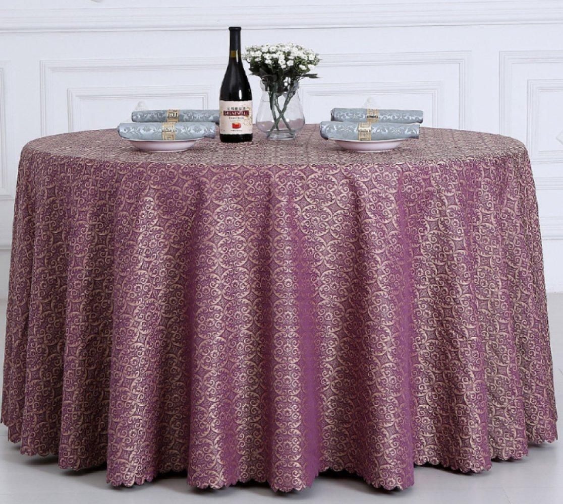 Restaurante Hotel Retro Round Tablecloth Hotel Table Mats,Purple-diameter240cm