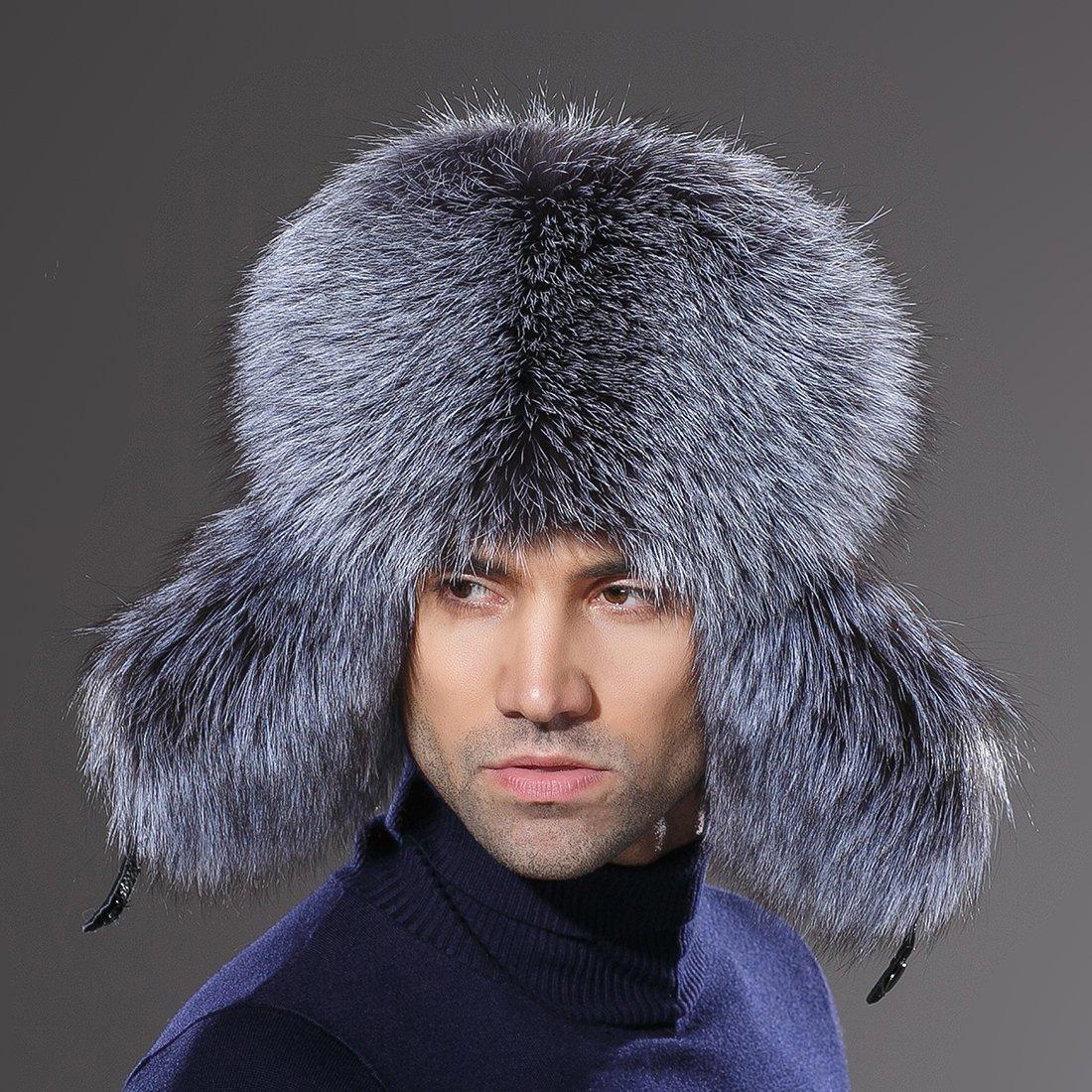 URSFUR Winter Mens Trapper Hat Real Leather Silver Fox Fur Russian Ushanka Cap by URSFUR (Image #6)