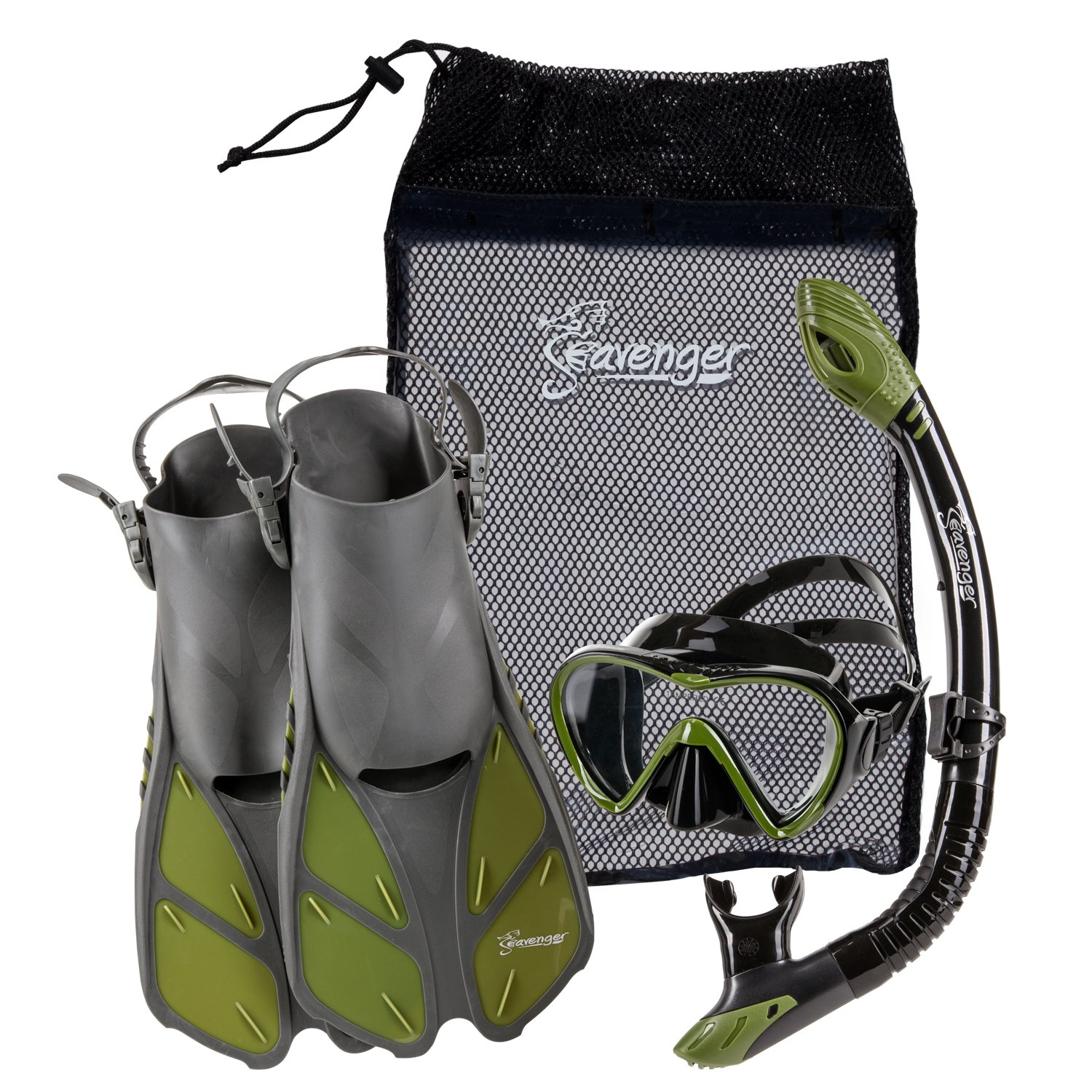 Seavenger Diving Dry Top Snorkel Set with Trek Fin, Single Lens Mask and Gear Bag, L/XL - Size 9 to 13, Gray/Black Silicon/Green