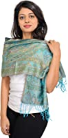 Exotic India Super-Silk Jamawar Scarf with Woven Paisleys