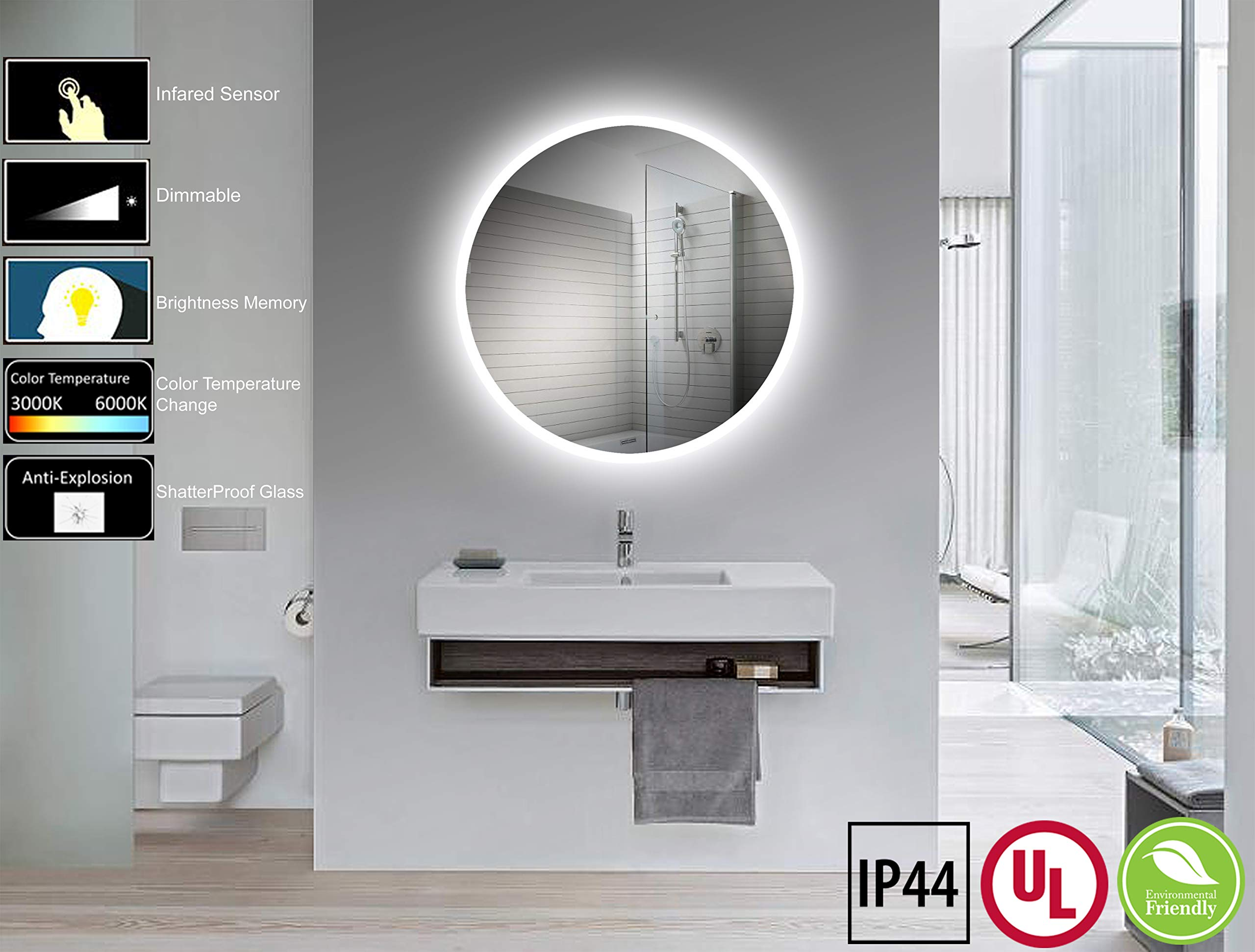 Yukon 32 Inch 32 Inch Round LED Wall Mounted Lighted Vanity Bathroom Silvered Mirror with CRI>90+ Dimmable LED, Dual Colored Warm White/Cool White, UL Tested, Waterproof Vertical & Horizontal Mirror