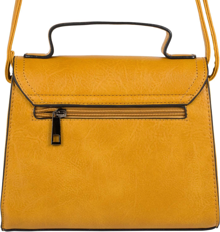 styleBREAKER dam axelväska miniväska med dekorationsspänne, justerbar bärrem, enfärgad handväska 02012357 senap