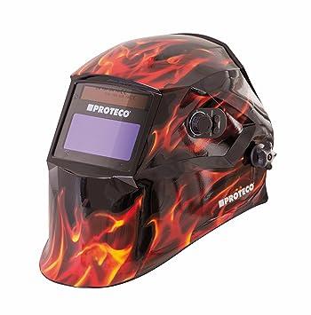 PROTECO de herramientas® p800e Flame Casco de soldar automático con 10 cristales de repuesto solar - Casco de soldador soldar Máscara sudor Cartel ...