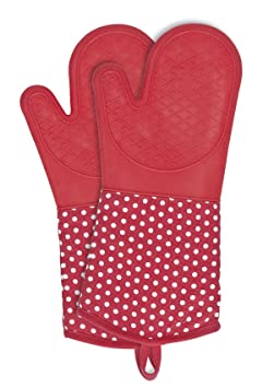 Wenko 2102168100 Topfhandschuhe Silikon Rot, 1 Paar, Ofenhandschuh, Baumwolle, 18.5 x 37.5 cm, Rot
