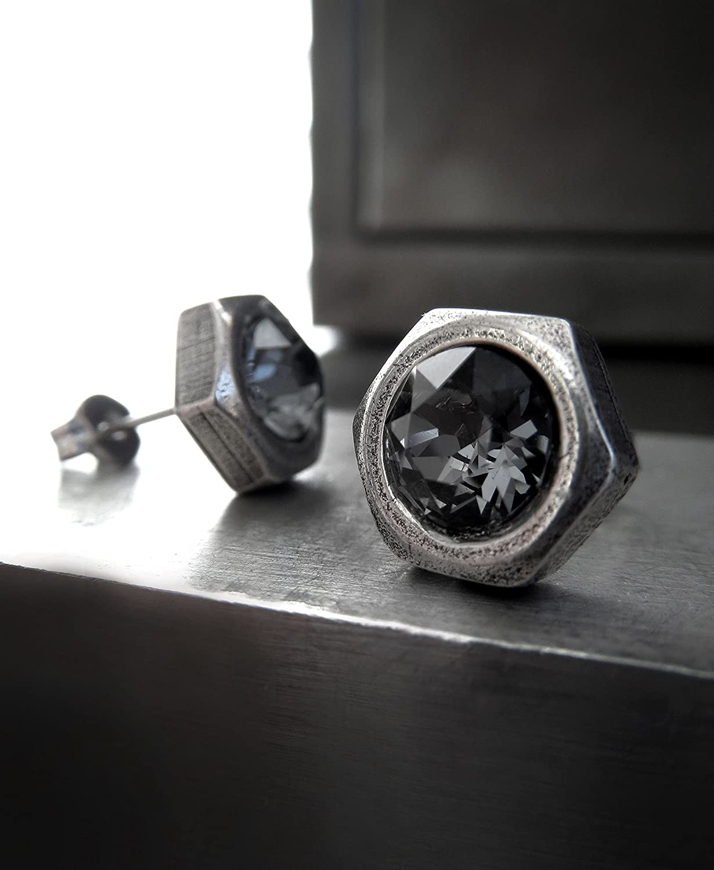 ff3172d5cd10a Mens Black Hex Nut Stud Earrings with Swarovski Crystal Black Night ...