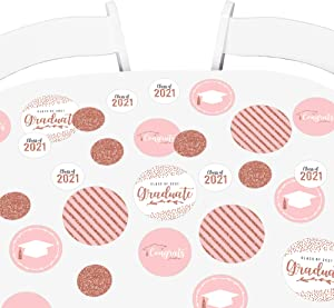 Big Dot of Happiness Rose Gold Grad - 2021 Graduation Party Giant Circle Confetti - Party Decorations - Large Confetti 27 Count
