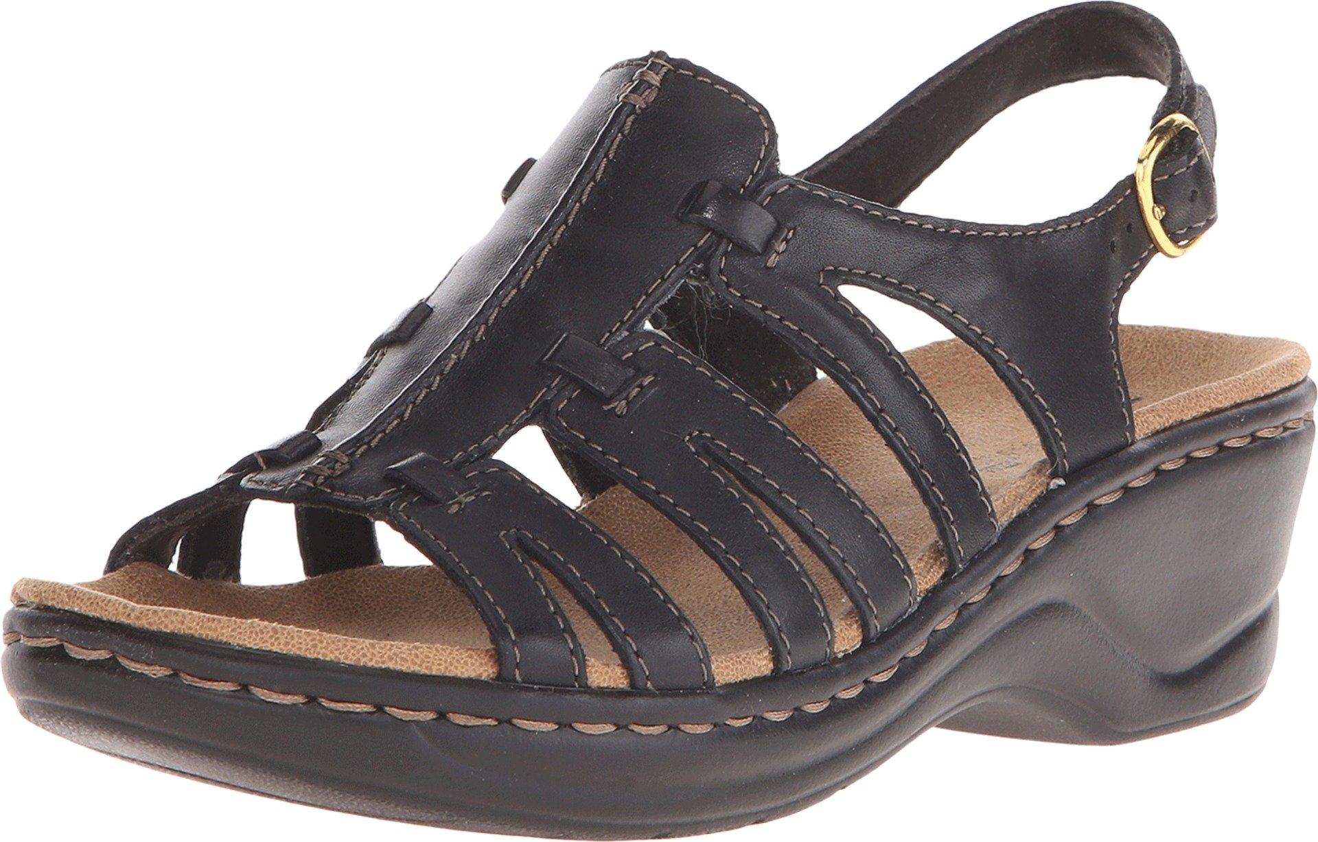 CLARKS Women's Lexi Marigold Q Black Leather 8.5 B - Medium