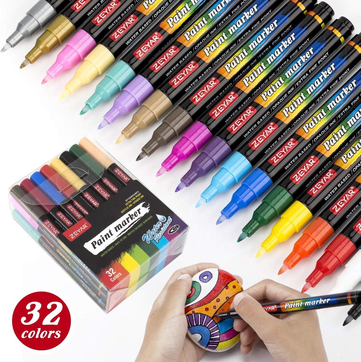 Bolígrafos de pintura acrílica ZEYAR a base de agua.32un