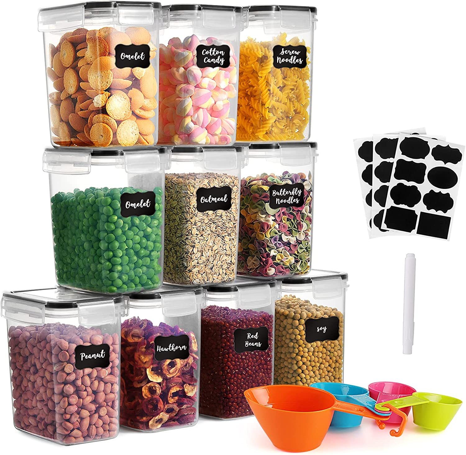 GoMaihe 1.6L Food Storage Containers 10 Pcs, Plastic Food Storage Containers with lids Airtight, Cereal Containers Storage set Suitable for Food, Cereal Kitchen Pantry Organization and Storage, Black
