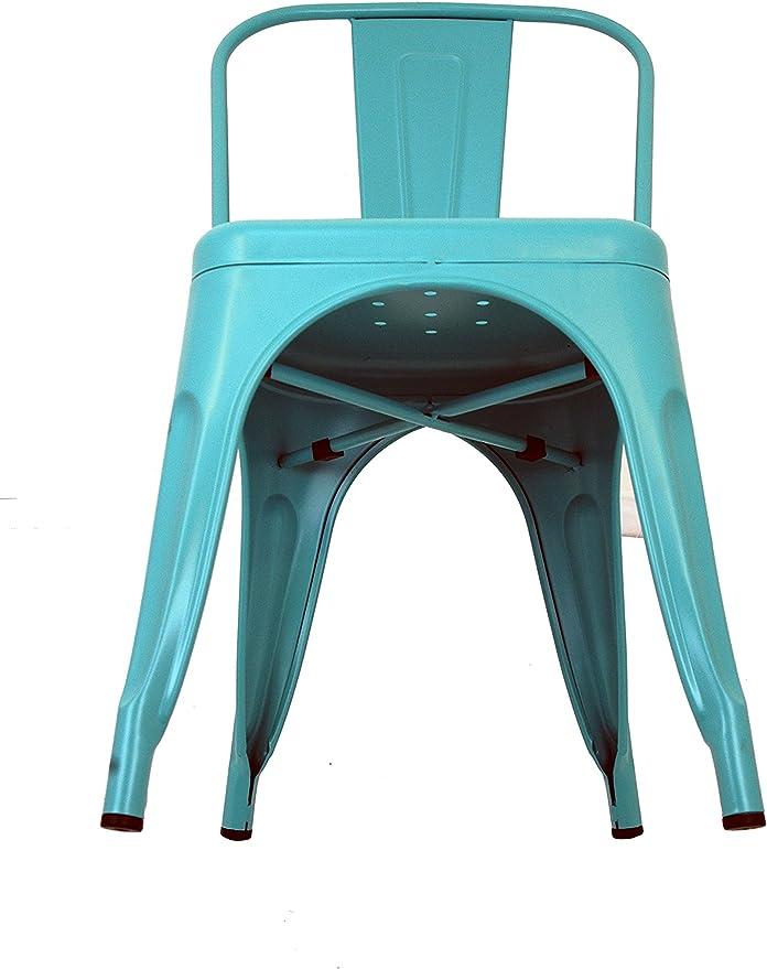 La Silla Española - Pack 2 Sillas estilo Tolix con respaldo. Color Turquesa. Medidas 85x54x45,5: Amazon.es: Hogar