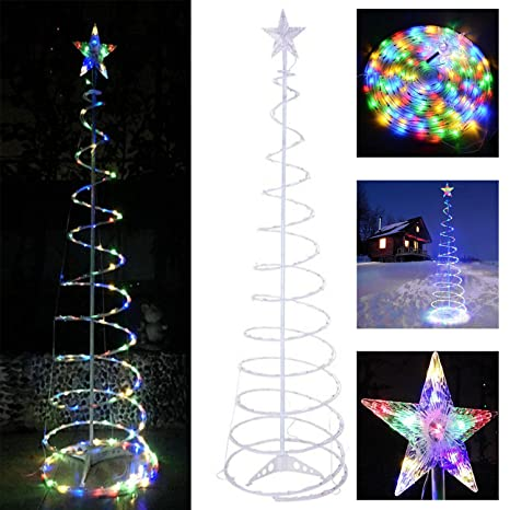 koval inc 5ft 6ft indoor outdoor clear led lighted spiral christmas tree 6ft