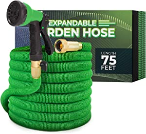 Joey's Expandable Garden Hose with 8 Function Hose Nozzle, Lightweight Anti-Kink Flexible Garden Hoses, Extra Strength Fabric with Double Latex Core, (75 FT, Green)
