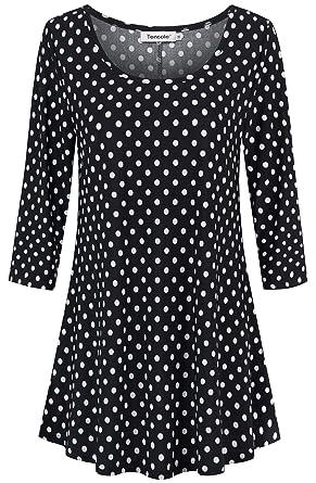 96fda69ecd Polka Dot Shirts for Women, Womens Bohemian Tops and Blouses Swing Three  Fourth Quarter Sleeve