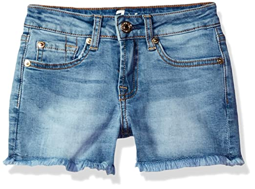 6848d8fb05 7 For All Mankind Girls' Little 5 Pocket Raw Edge Hem Denim Short, Pretty