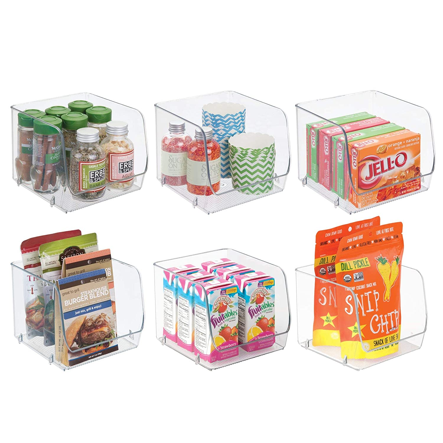 mDesign Stacking Organizer Bins for Kitchen, Pantry, Office, Bathroom - Pack of 2, Medium, Clear MetroDecor 1576MDK