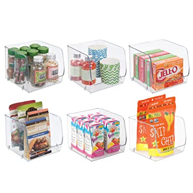 mDesign Stacking Organizer Bins for Kitchen, Pantry, Office, Bathroom - Pack of 6, Medium, Clear