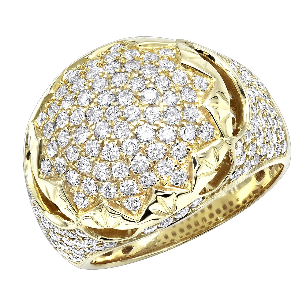Mens Diamond Band Unique Large 14k Gold Pinky Ring 3ctw (Yellow Gold, Size 11)