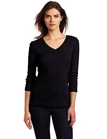 814qch2y1VL._UX342_ amazon com three dots red women's three quarter sleeve deep v tee,3 Dots Womens Clothing
