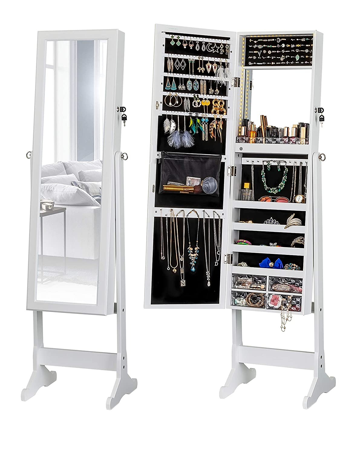LUXFURNI LED Light Jewelry Cabinet Standing Mirror Makeup Lockable Armoire, Large Storage Organizer w/Drawers (White, L)