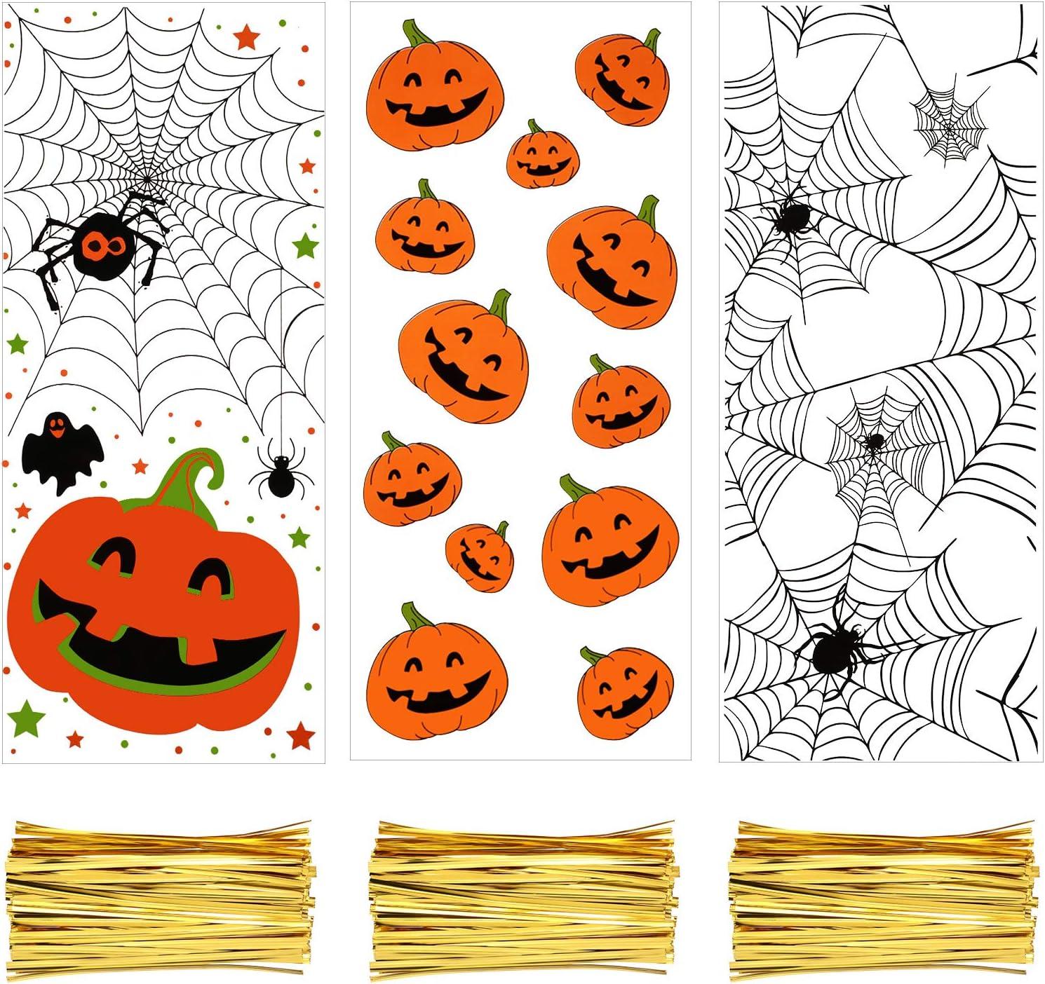 Style 1 200 Pi/èces Sachets Transparents en Cellophane Sachets de Friandises Biscuits Bonbons de No/ël Halloween avec 300 Pi/èces Cravates Torsad/ées pour Fournitures de F/ête /à Th/ème