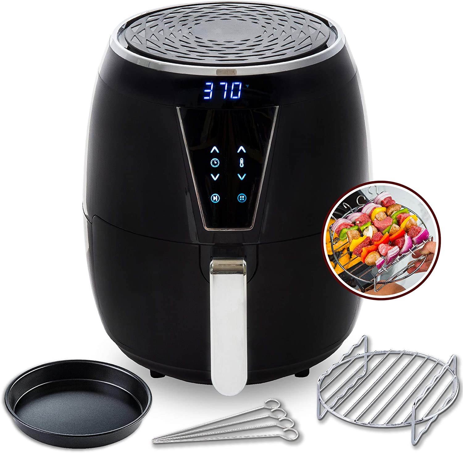 Aria Air Fryers CFA-897 Aria Ceramic Air Fryer, 5Qt, Premium Black