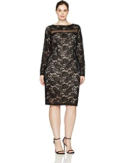 a8a4156b Marina Women's Sequin Lace Illusion Neckline Cocktail Dress: Amazon ...