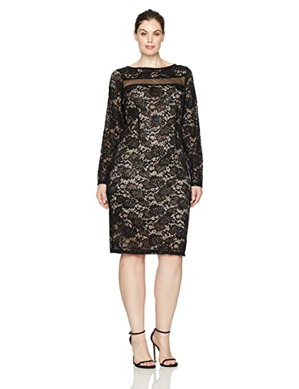 1c19c28d32ab Marina Women s Sequin Lace Cocktail Dress with Illusion Neckline at Amazon  Women s Clothing store