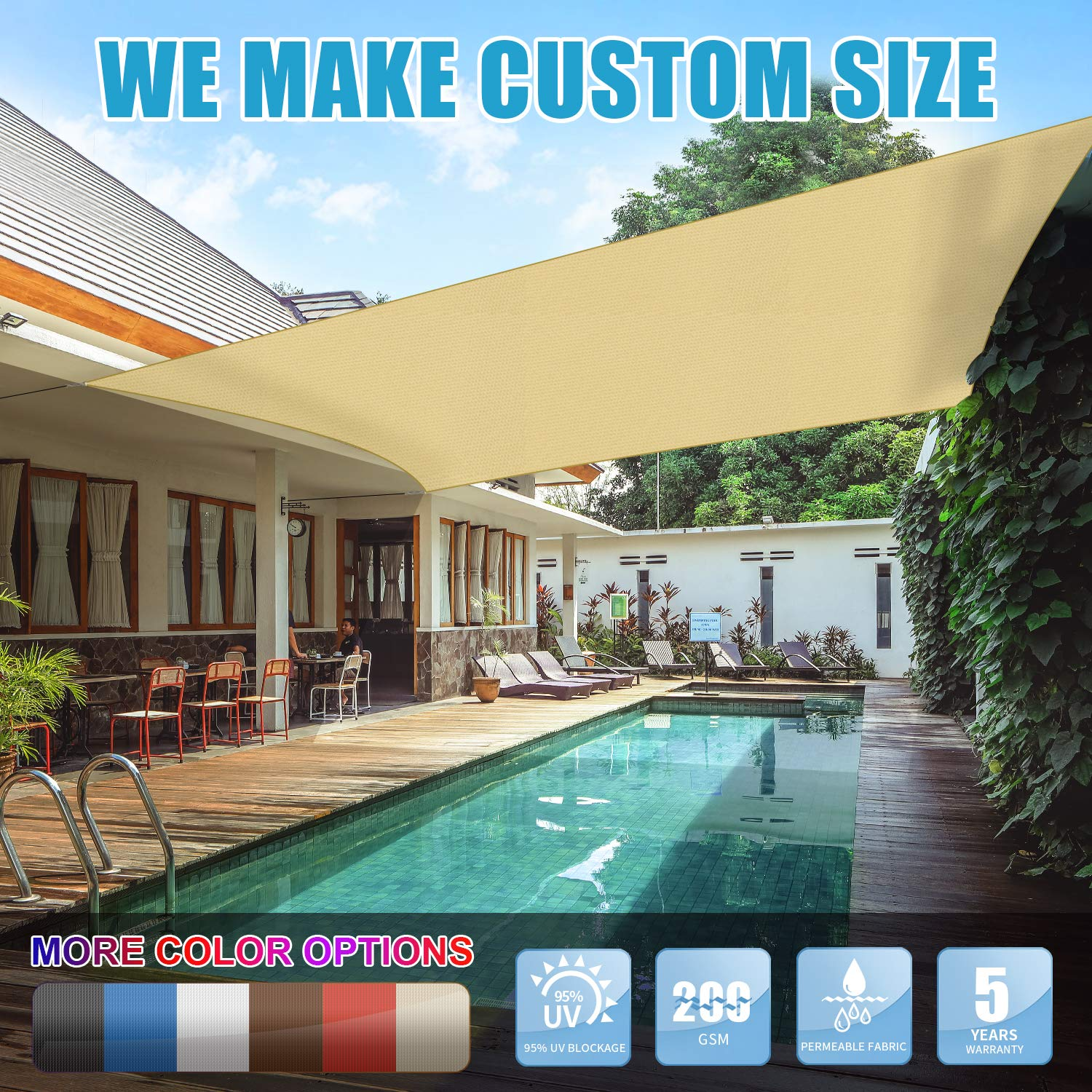 Amgo 8' x 12' Beige Rectangle Sun Shade Sail Canopy Awning, 95% UV Blockage, Water & Air Permeable, Commercial and Residential, for Patio Yard Pergola, 5 Years Warranty (Available for Custom Sizes) by Amgo