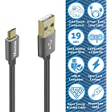 iVoltaa Data & Charging Micro USB Cable 6Ft Long, with Gold Plated connectors and thick copper wires (19 AWG) with 2.4 Amps Charging Speed for Samsung, Android Smartphones and More (Space Grey)