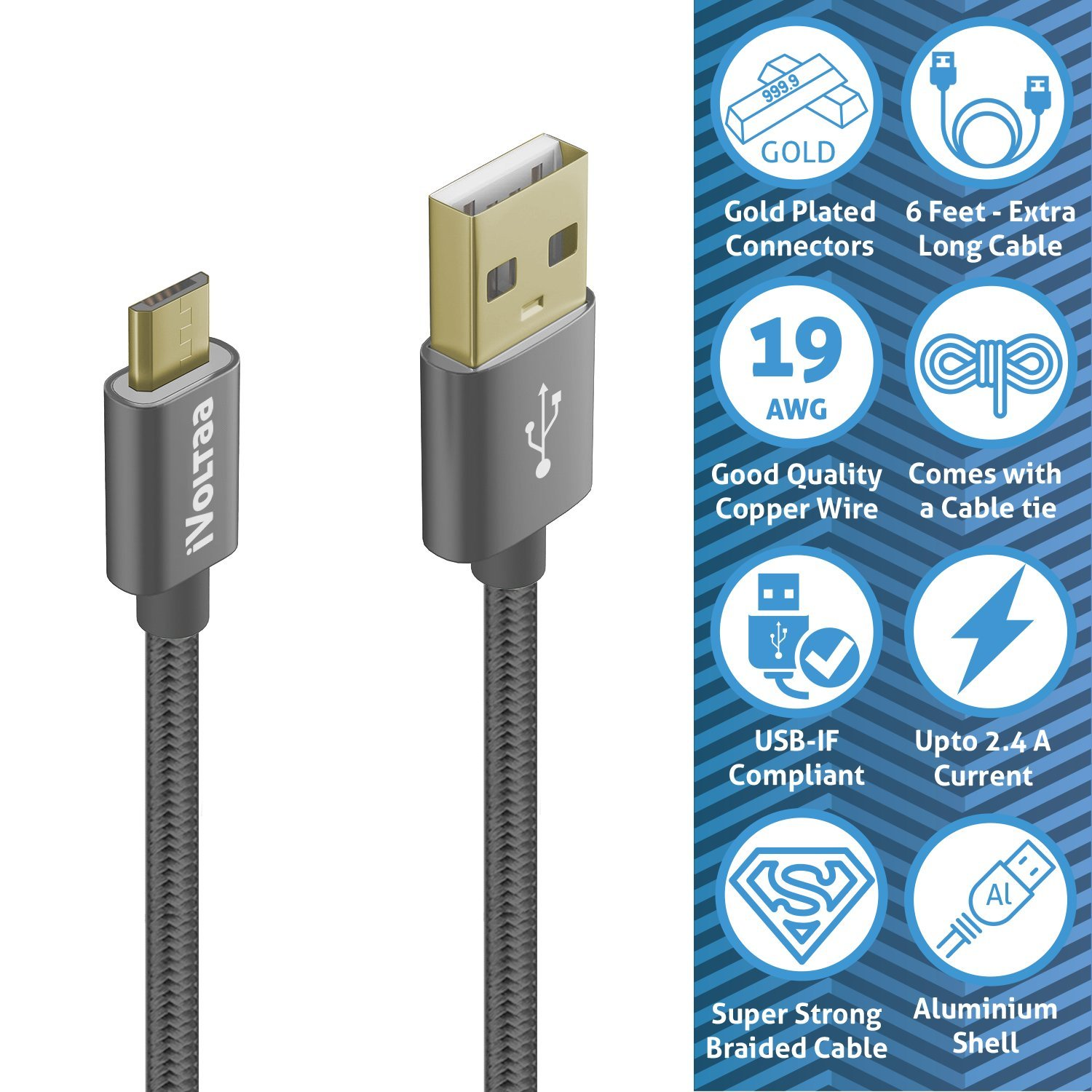 iVoltaa Gold Plated Braided Micro USB Cable - 6 Feet: Amazon.in ...