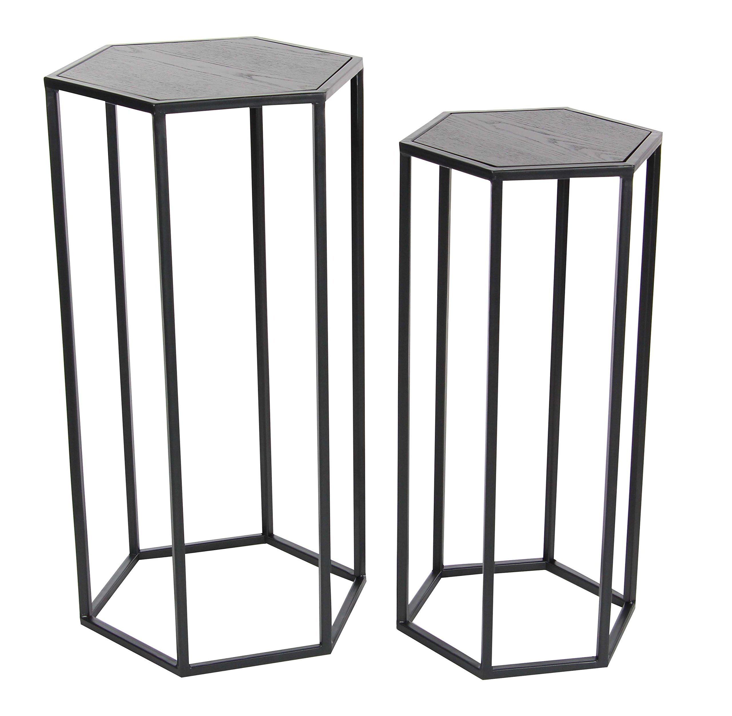 Deco 79 65631 Metal and Wood Pedestal Set of 2, 25'' H, 27'' H, Gray/Black