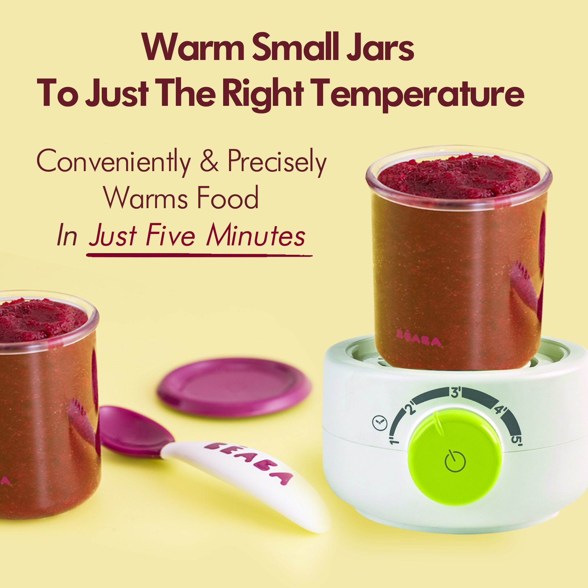 BEABA Quick Baby Bottle Warmer, Steam Sterilizer, Baby Food Heater (3-in-1) Warm Milk in Just Two Minutes, BPA and Lead Free, Simple Temperature Control, Fits All Bottle Sizes - Even Wide Neck, Neon by BEABA (Image #3)