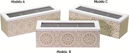 Caja madera clasificadora para infusiones con 3 departamentos ...
